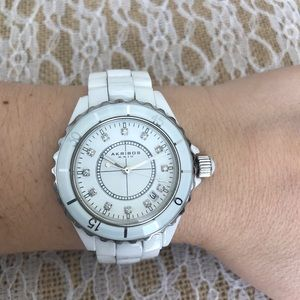 Akribos XXIV white ceramic watch